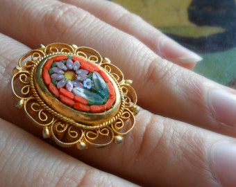 vintage orange floral micromosaic filigree ring - italian vintage sixties kitsch costume jewelry - adjustable band ring