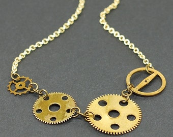 Brass Gear Necklace- Choker Necklace, Upcycled Clock Gear Necklace, Steampunk Jewelry, Steampunk Necklace, by Tanith Rohe
