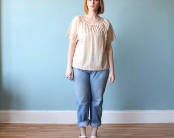 SALE 50% OFF plus size shirt / boho floral tent blouse / 1980s / xl- xxl