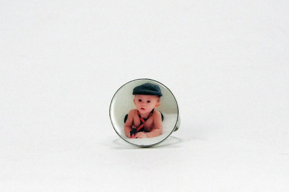 Photo Charm Ring - Custom Sterling Silver Bezel - C15Ri