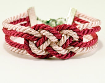 Hot pink and light pink double infinity knot nautical rope bracelet with silver anchor charm