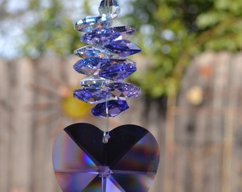 "7 1/2 to 8 1/2"" Grande Large Fat Faceted 40mm Strass Blue Violet Swarovski Crystal Rainbow Heart Suncatcher, Car Charm, Hanging Crystals,"