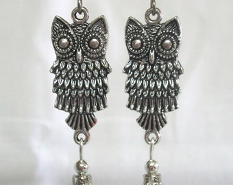DEWDROP OWLS antiqued silver with swarovski teardrops