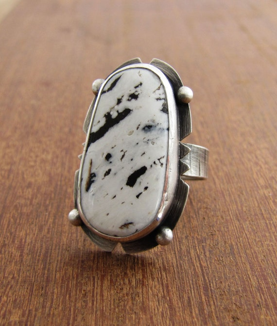 black white buffalo turquoise ring large sterling silver