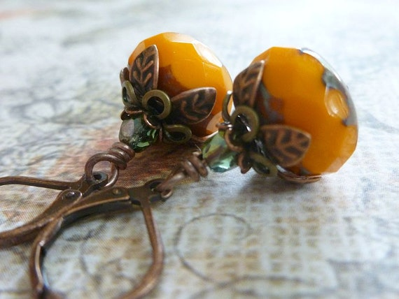 Pumpkin Earrings - Autumn Orange and Stone Czech Glass, Antique Copper Leverback