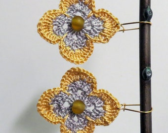 Mustard Yellow and Silver Gray Diamond Flower Earrings on Gold Filled Wire