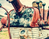 Tractor Dashboard, Old Farmall 560 Diesel Tractor Signed Print, Farm Machinery, Gauges, Levers, Industrial and Agricultural.