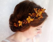 fall wedding hair accessories, copper orange bridal headpiece, autumn wedding flower crown - BRAMBLE - rustic wedding, floral head wreath