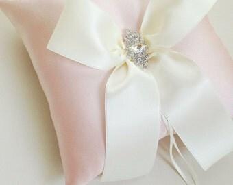 Blush Ring Bearer Pillow - Ivory and Blush Ring Pillow - Wedding