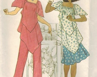1970s Simplicity 7761 UNCUT Vintage Sewing Pattern Misses Handkerchief Pullover Tunic, Skirt, and Pants Size 10 Bust 32-1/2