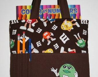Crayon Tote Bag, Tote Bag, Crayon Holder, M&M's Crayon Bag, Green M+M,  Ready to Ship