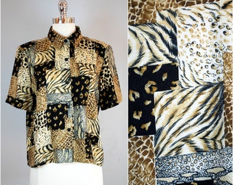 Vintage ANIMAL PRINT blouse / Short sleeve rayon top