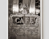 SALE! Paris Photography, Etched Glass Cafe Print Extra Large Wall Art Prints, Paris Wall Decor