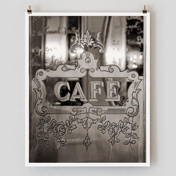 Paris Photography, Etched Glass Cafe Print Extra Large Wall Art Prints, Paris Wall Decor