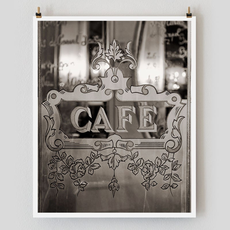 Paris Photography, Etched Glass Cafe Print Extra Large Wall Art Prints,  Paris Wall Decor