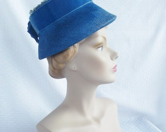 Clearance 1960's Vintage Blue Lamp Shade Hat with Flowers