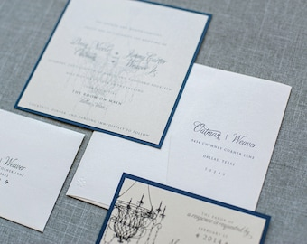 Formal Classic Script Navy and Gold Chandelier Wedding Invitation Suite | Devin &Jimmy