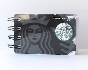 STARBUCKS Upcycled Gift Card Spiral Notepad Notebook