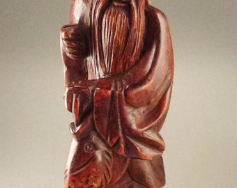 ASIAN  IMMORTAL FISHERMAN Figurine Sculpture red  Wooden 12 in tall 3 1/2 deep by 2 3/4 wide As found