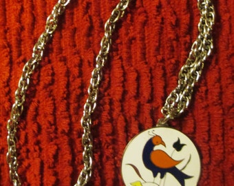 Vtge Dutch Hex Bird Plated Pendant on Chain
