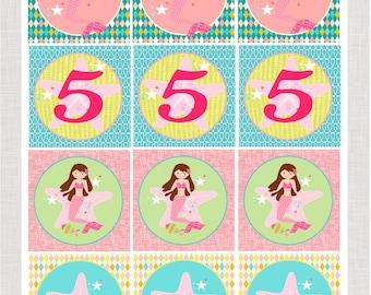"""Mermaid Cupcake Toppers 2.5"""" PRINTABLE PDF"""