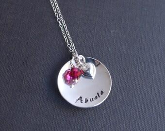 Abuela Charm Necklace with Swarovski Birthstone Crystals