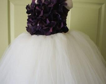 Flower Girl Dress, Tutu Dress, Photo Prop, Purple and Ivory, Flower Top, Tutu Dress