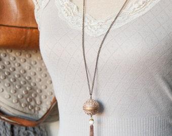 Farah - chic long length tassel necklace