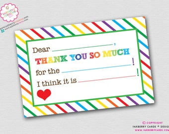 Rainbow Stripe Fill-in-the-Blank Thank You Note - INSTANT DOWNLOAD - Digital, Printable Files