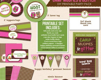 Camp Mudpies & Glitter Camping Birthday Party - INSTANT DOWNLOAD - DIY/Printable Party Pack