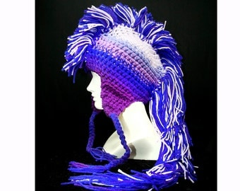 Lilac and Purple Ombre Mohawk Hat Extreme Style