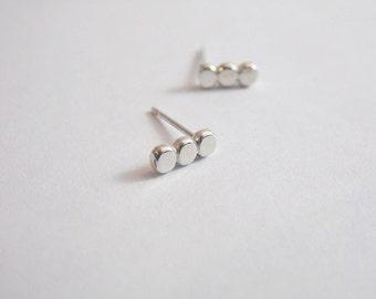 Button Earrings Sterling Silver Bar Earrings Post