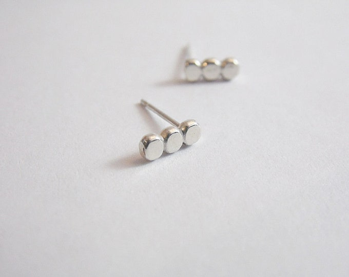 Button Earrings Sterling Silver Bar Earrings Post