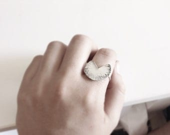 Geometric ring in Sterling silver - Adjustable textured ring-Pac man ring - Statement ring