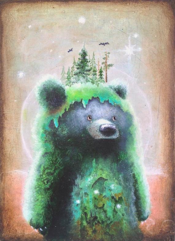 Bear print bear art print 8x10 abstract art for Cute abstract art