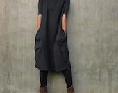 Turtle Neck Dress / Sleeveless Dress  (1403) Dot printed  thick cotton (one size)