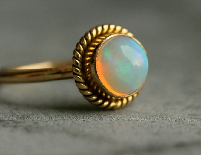 18K Gold Opal ring Natural Opal Engagement ring by Studio1980