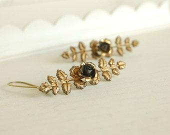 rose branch earrings, bohemian boho rose dangles, long rose earrings, golden brass jewelry, woodland bohemian