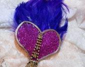 Fuchsia Glitter Heart Showgirl Fascinator Hair Clip Barrette Burlesque