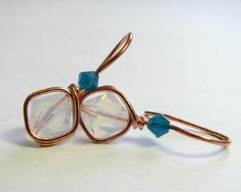 Wire Wrapped Earrings Handmade White Opal Caribbean Blue Opal Swarovski Crystals Copper Dangle Earrings (E406D)