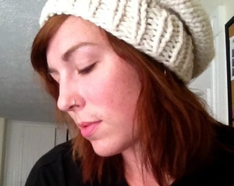 Chunky Slouch Hat--Cream