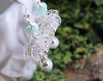 Sterling silver Earrings / Mint Alabaster Crystal