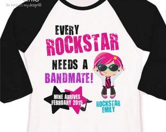 Rockstar big sister shirt bandmate pregnancy announcement raglan Tshirt