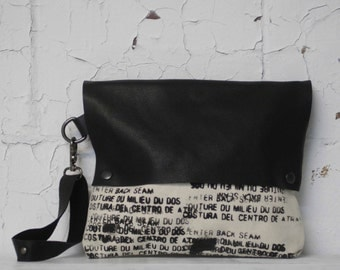 Black Leather Canvas Clutch Bag / Wristlet  Handbag /  Printed