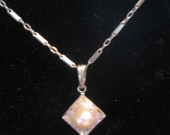 Sterling Pearl Necklace Vintage