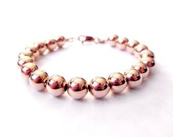 14K Rose Gold Filled Bead Bracelet - 8mm Beads - Everyday Wear -  Simple Rose Gold Ball Bracelet