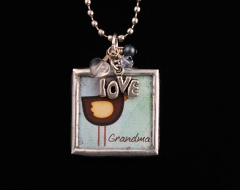 For GRANDMA - Hand Soldered Glass Charm Necklace - Reversible Bird necklace - Mothers Day - Grandmother - ME Designs