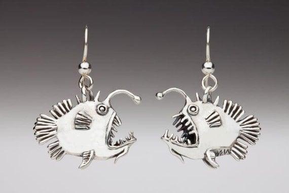 Angler Fish Earrings Silver Fish Earrings Fish Jewelry Angler Fish Jewelry Angler Fish Art Scary Fish Silver Fish Fish Charm