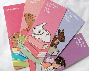 Love Bunny Bookmarks - Eco-friendly Set of 5