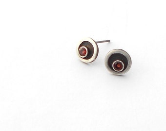 Red Garnet and Sterling Silver Circle Post Earrings with Oxidized Black Patina From the Eyelet Lace Collection, January Birthstone